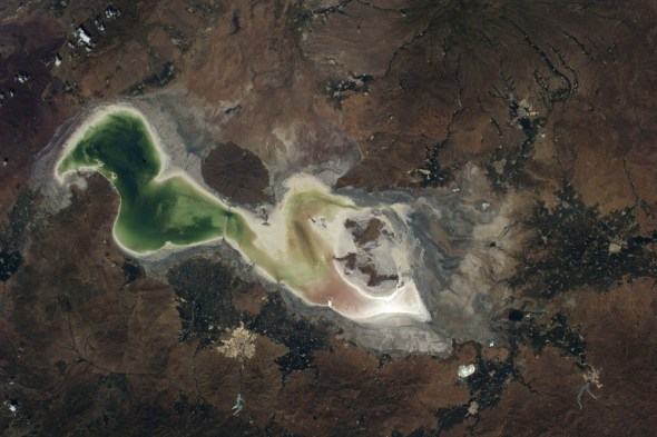 Lake Urmia shrinking drought Iran big lakes