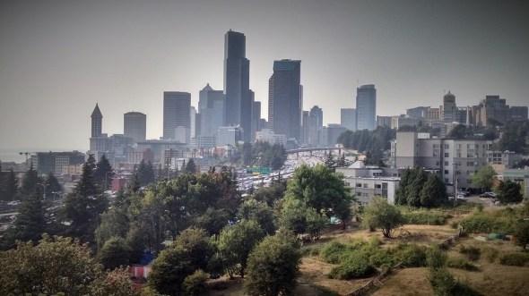 Seattle skyline downtown smoke haze drought Pacific Northwest Emerald City Brett Walton Circle of Blue
