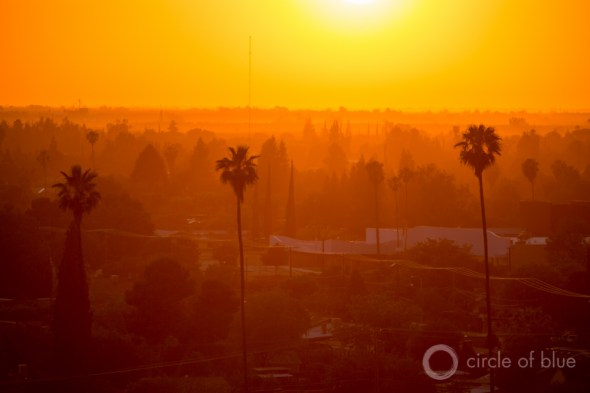 California Tulare County Porterville sunset palm trees carl ganter circle of blue