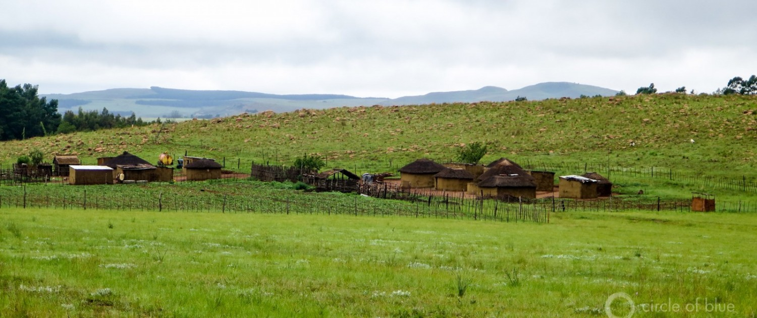 A Zulu family compound in the hills near Vryheid where a big underground coal mine is proposed. Photo © Keith Schneider / Circle of Blue