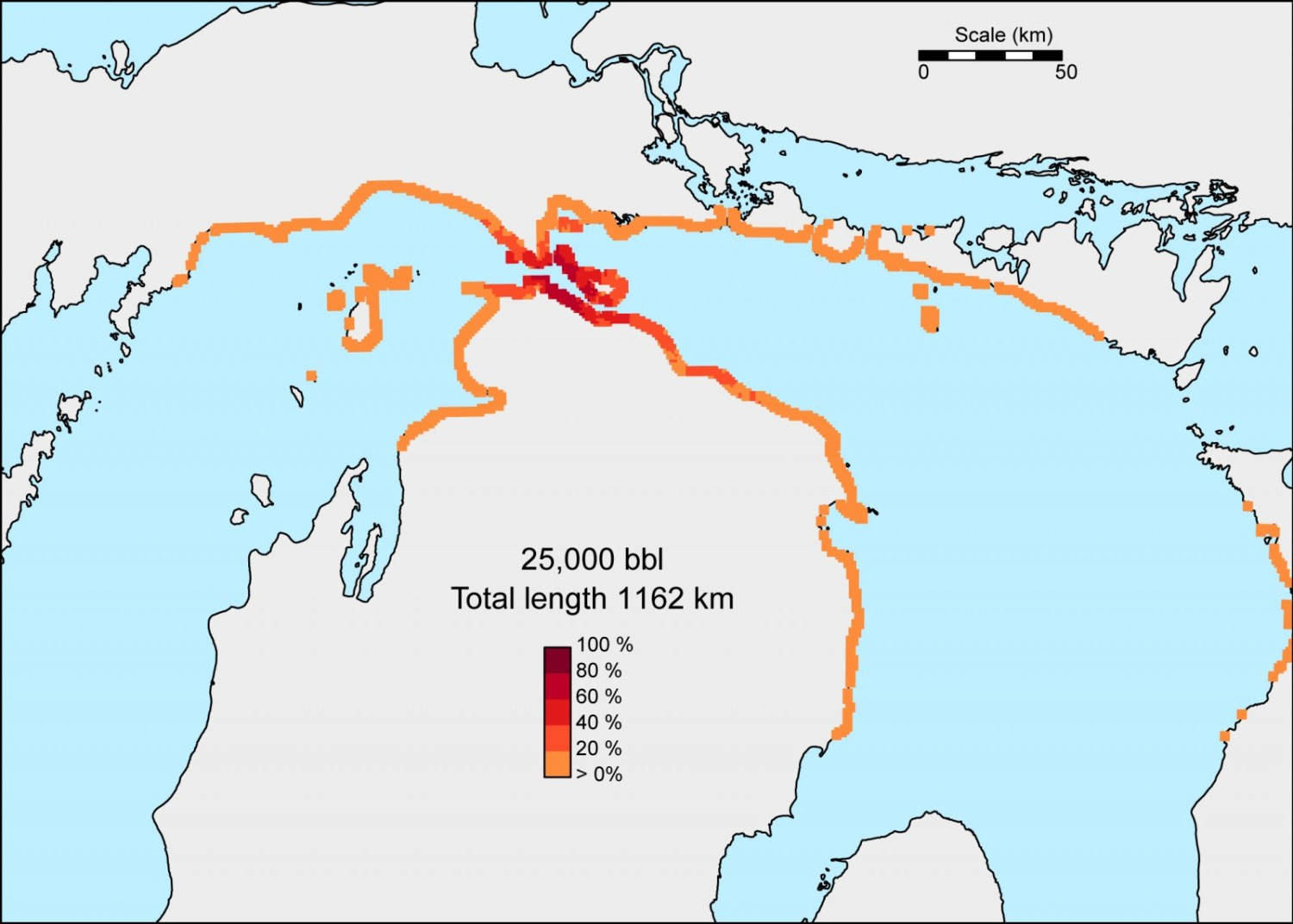 In the worst case scenario of a 25,000-barrel oil spill in the Straits --the same amount that spilled near the Kalamazoo River in 2010--up to 245 kilometers of shoreline could be affected. This map shows the probability that beached oil concentrations would exceed the threshold needed to trigger shoreline cleanup. Map courtesy University of Michigan Water Center
