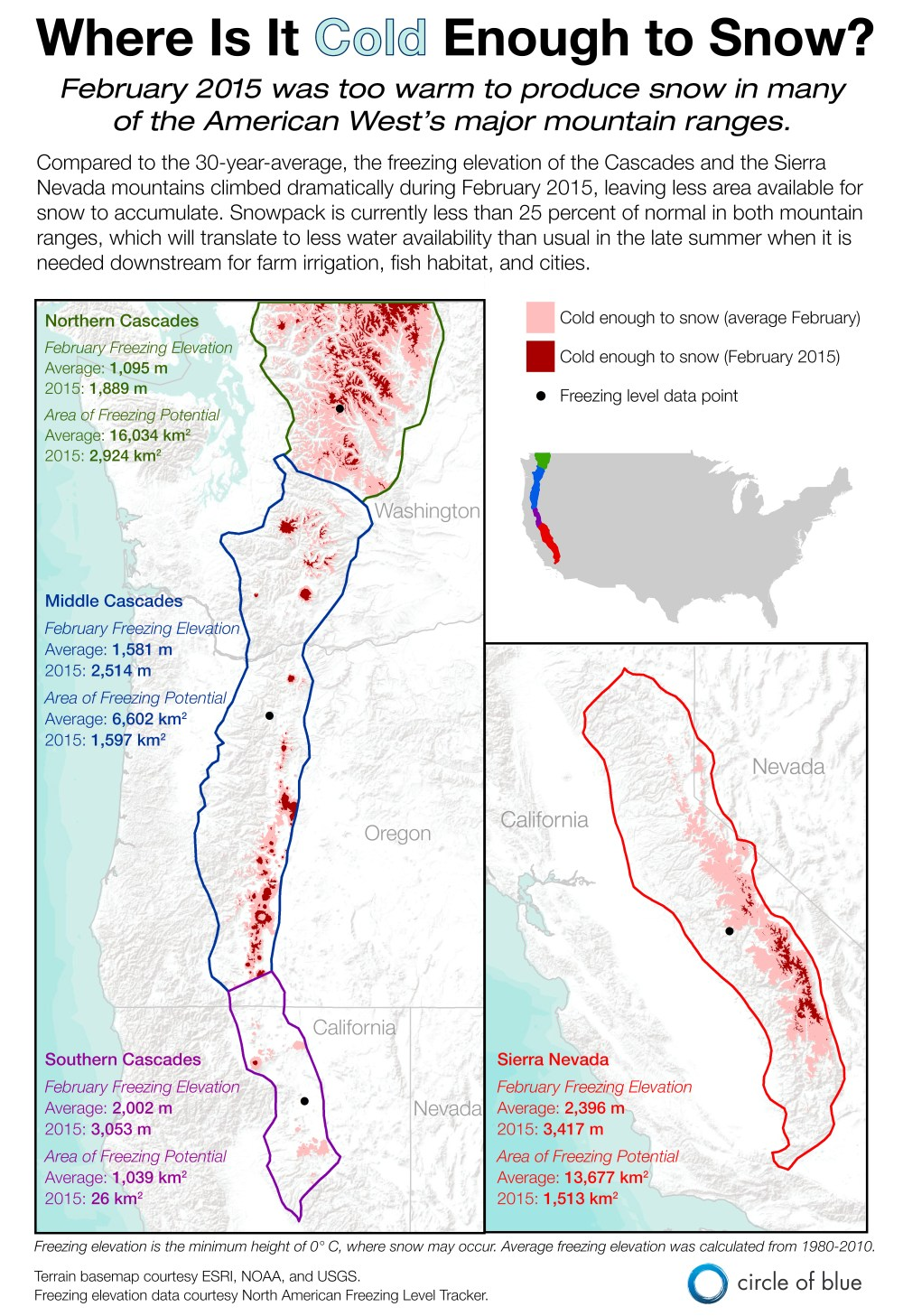 Infographic Graphic Map Winter Snowpack Elevation February 2015 Sierra Nevada Cascade Mountain Freezing Level Washington Oregon California Kaye LaFond Circle of Blue