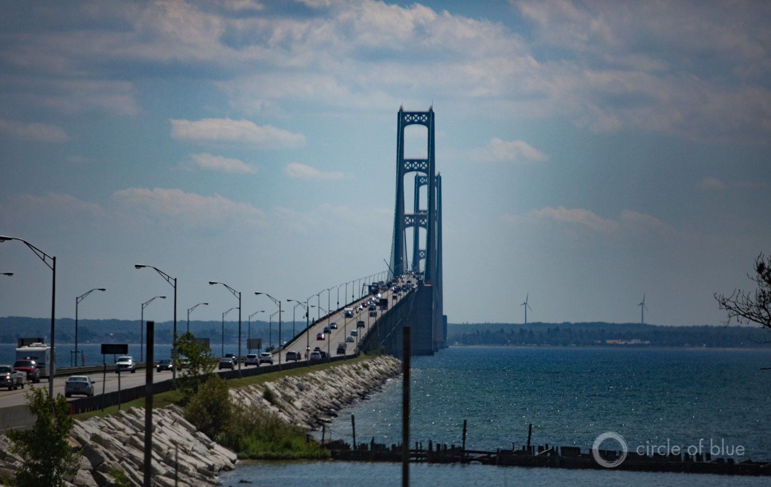 Enbridge, Inc.'s Line 5 pipeline splits in two and crosses beneath the waters of the Straits of Mackinac, near the site of Michigan's Mackinac Bridge.  Photo © J. Carl Ganter / Circle of Blue