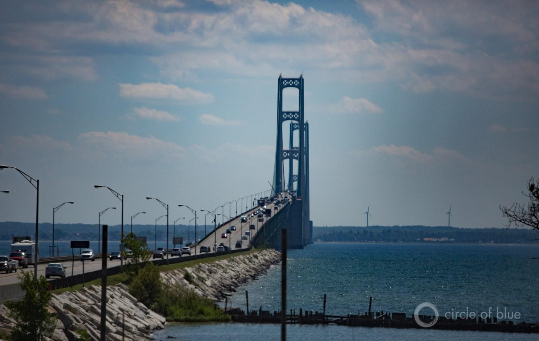 Enbridge, Inc.'s Line 5 pipeline splits in two and crosses beneath the waters of the Straits of Mackinac, near the site of Michigan's Mackinac Bridge.  Photo © J. Carl Ganter / Circle of Blue