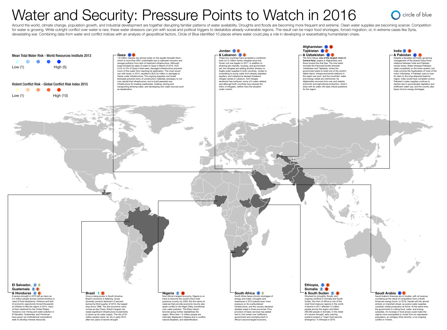 Water conflict security world map hot spots Kaye LaFond Circle of Blue