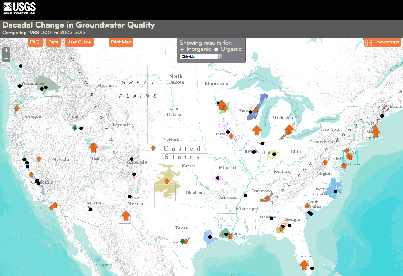 A screenshot of the national groundwater quality map for chloride. The arrows show whether concentrations increased, decreased or stayed the same between the two sampling periods, roughly a decade apart.