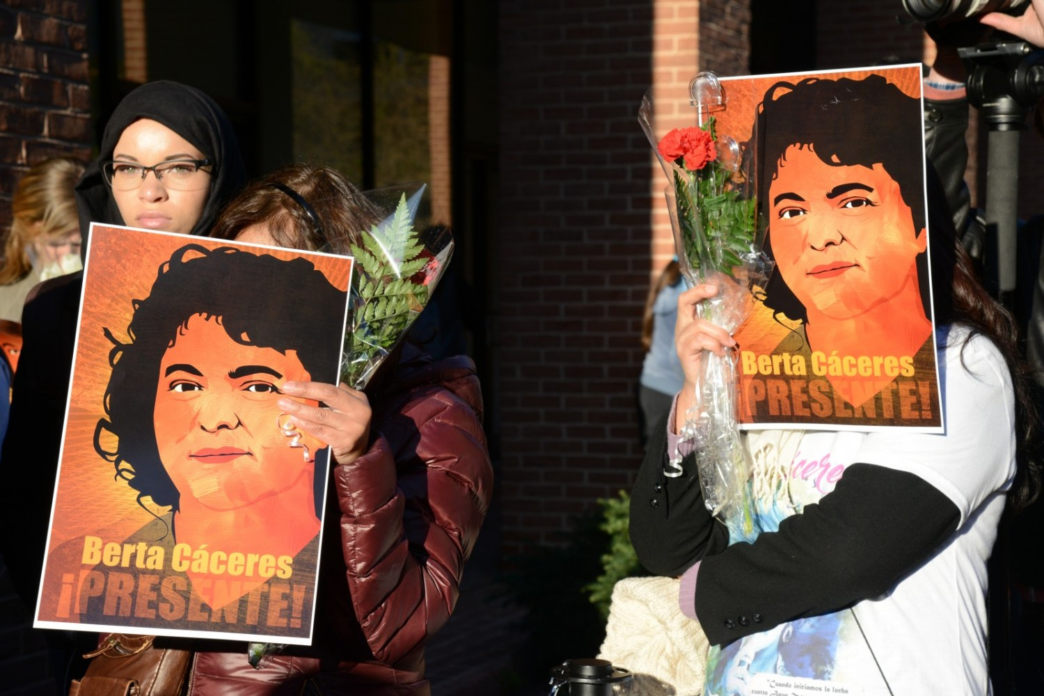 Mourners hold a vigil outside the Organization of American States for Berta Cáceres, who was murdered in Honduras on March 3. Cáceres was a leading environmental activist who had opposed the Agua Zarca dam. Photo courtesy Daniel Cima / Comisión Interamericana de Derechos Humanos via Flickr Creative Commons