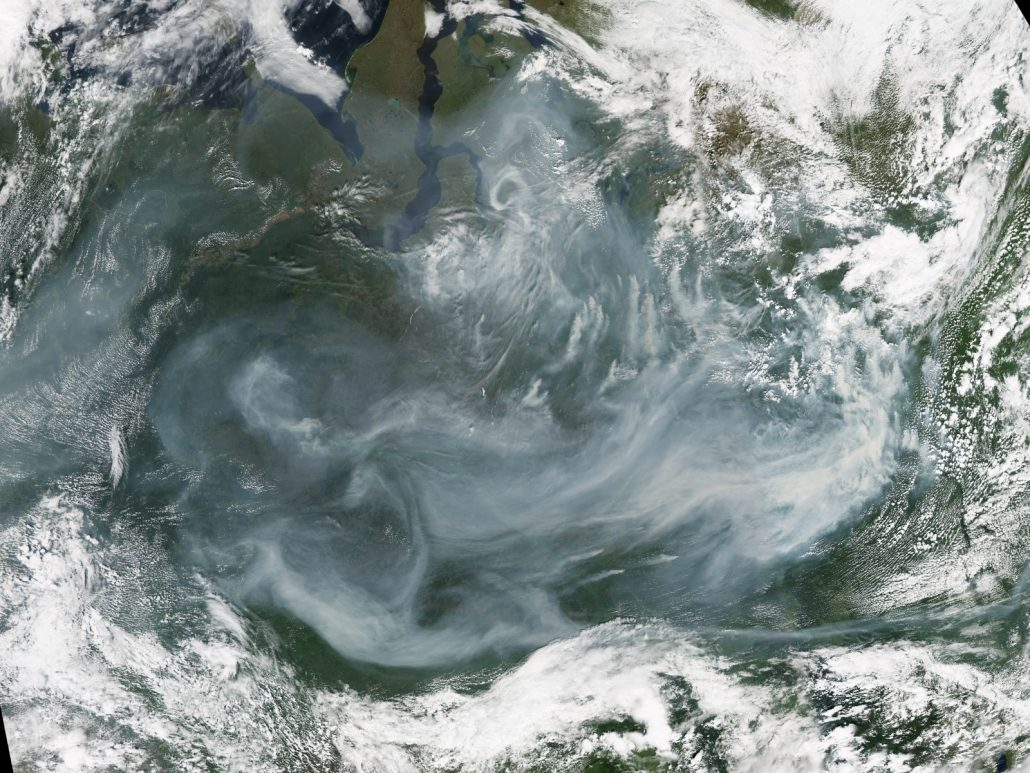 Satellite details from July 19, 2016 showing wildfires and smoke blanketing parts of Siberia. NASA/JPL