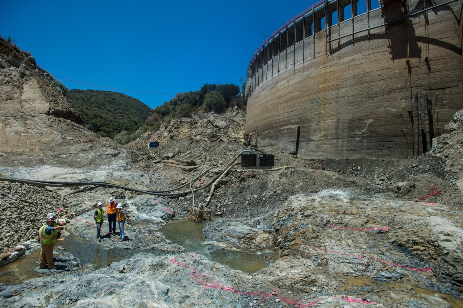 In 2015, California tore down the 106-foot-high San Clemente Dam on the Carmel River because the dam was at risk of collapsing in an earthquake. Photo by Kelly Grow / California Department of Water Resources
