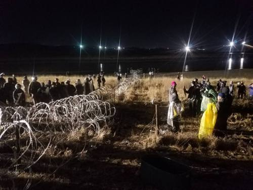 """2,000 veterans are scheduled to arrive in North Dakota to establish what they call a """"human shield"""" to protect the thousands of peaceful Water Protectors from police brutality. Photograph by, Lee Sprague"""