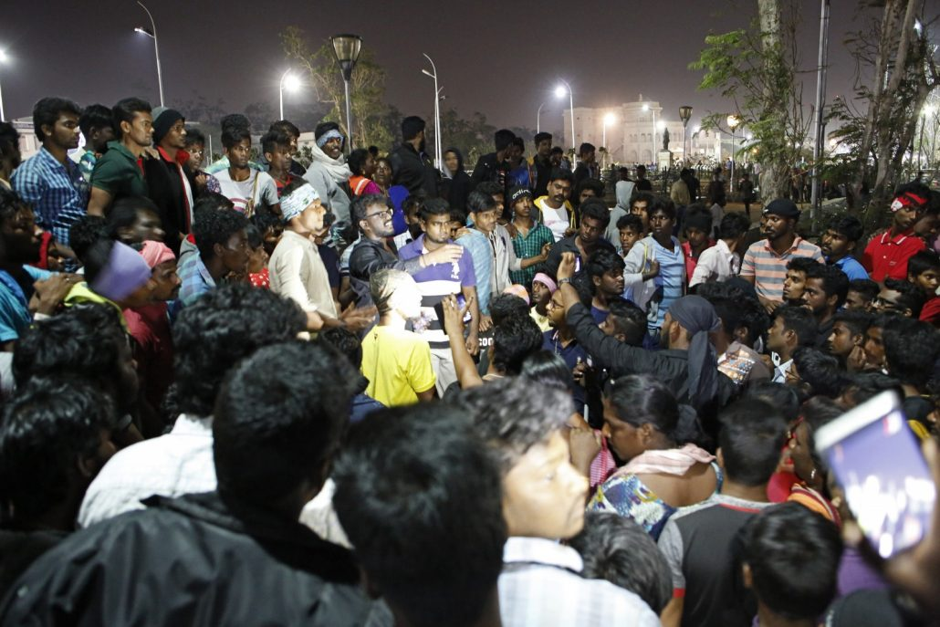 At night, throngs of people gathered at Marina Beach along the Bay of Bengal in Chennai, the capital of Tamil Nadu. Parents and children, unescorted women, working people, and young men formed an enormous crowd that was peaceful, partying, and enjoying a social happening never experienced in the southeast Indian state. Photo/Dhruv Malhotra