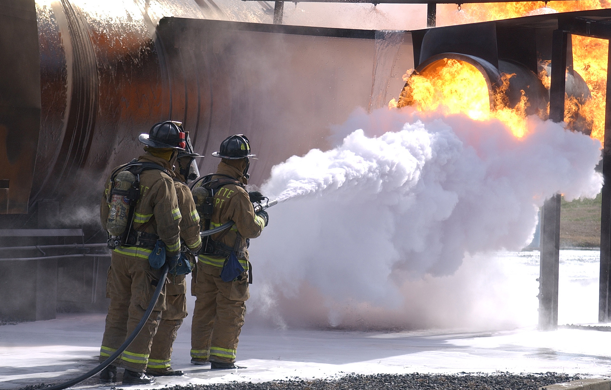 Certain firefighting foams used to put out oil fires have been linked to PFAS contamination of groundwater near fire stations and military bases. Photo by Tech Sgt Brian E. Christiansen, North Carolina Air National Guard Public Affairs