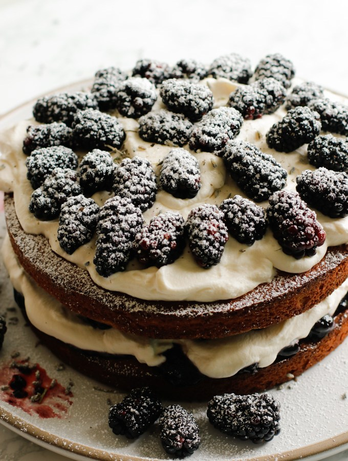 Victoria Sponge Cake with Blackberries and Lavender Cream
