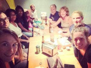Alene and her cell group who meet weekly for dialogue about Jesus
