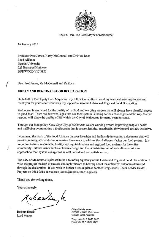 declaration sustain the n food network letter from robert doyle lord or of melbourne