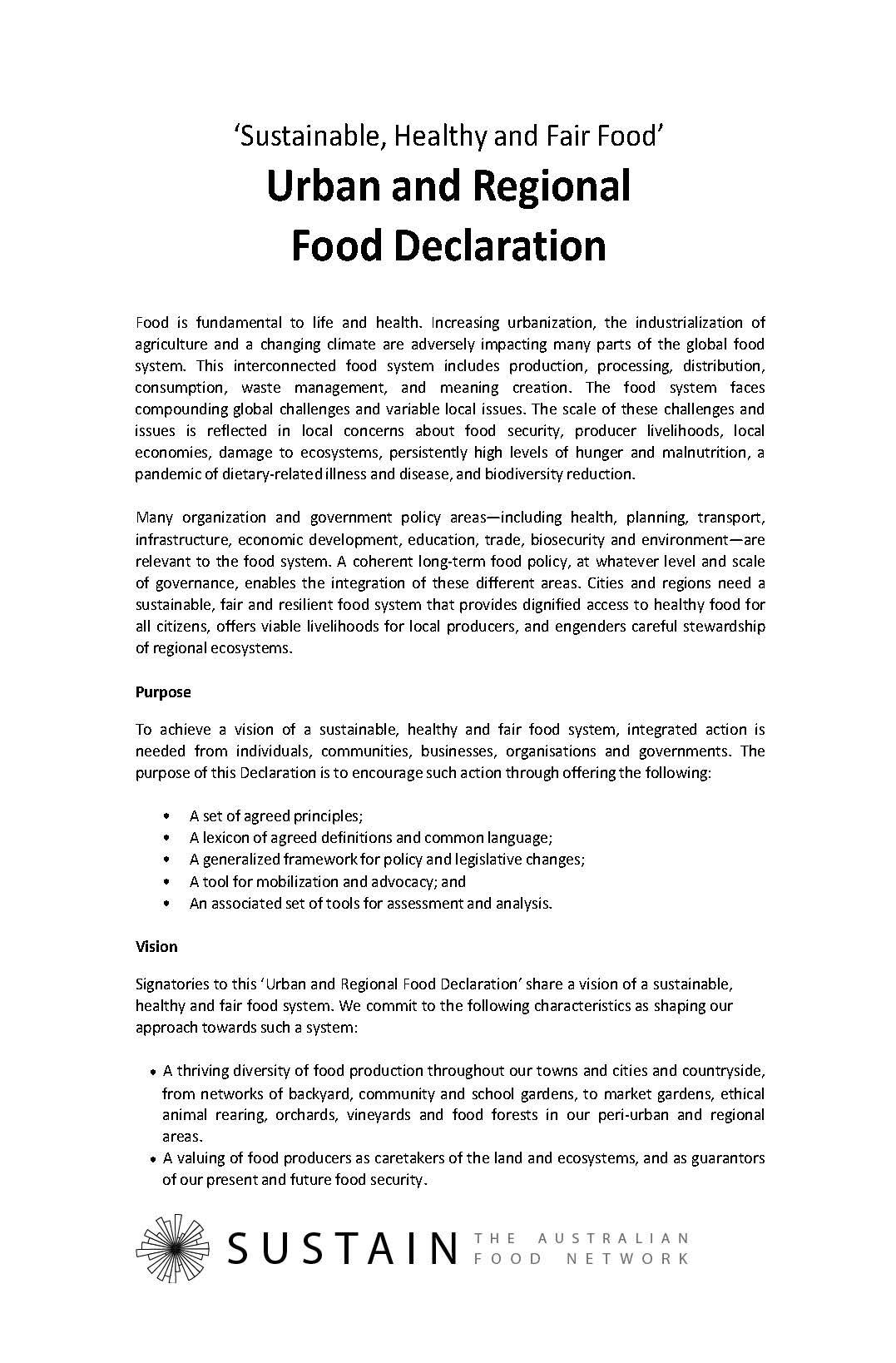 declaration sustain the australian food network