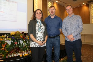 Eli Szandala, Sustainable Agriculture Officer of Tweed Shire Council, with Kathryn Scharf and Sustain ED Nick Rose at the Food for Thought Forum in Kingscliff, 12 August 2016