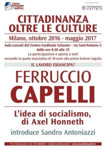 Locandina Corso di formazione. Ferruccio Capelli, L'idea di socialismo, di Axel Honneth.