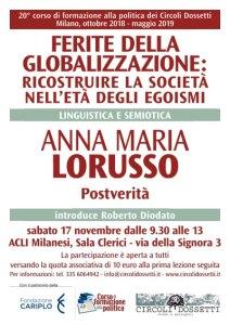 Locandina. Linguistica e semiotica. Anna Maria Lorusso: postverità.