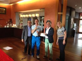 Medaglia d'oro Lorenzo Damiani Cus Genova con gli organizzatori a sn Andrea Baghino e a destra il Presidente Cus Genova Maurizio Cechini e Vanja Borscevski Masnata