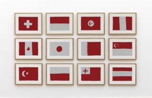 Marco Neri, Bandiere rosse, 2012 collages in 12 elementi cm 21 x 29,7 ciascuno dimensioni totali cm 107 x 180 cm foto Michele Alberto Sereni Collezione privata, Milano