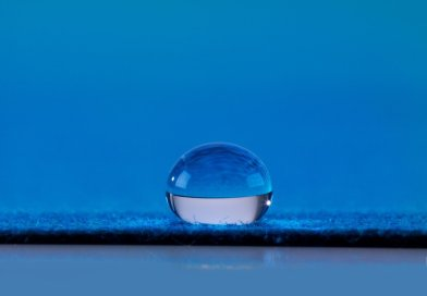 Water droplet resting on material surface treated with ion-mask(tm) technology by P2i - P2i Labs -- www.p2i.com