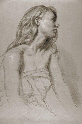 Julie di profilo, di Jon deMartin, 2009, pastelli, disegno su carta tonica, 35x50 cm.
