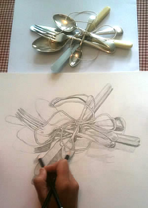 observational-drawing-forks