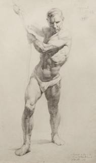 Academic male figure drawing, 1954.