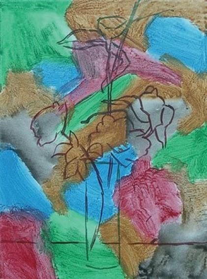 """La sottopittura multicolore nell'opera """"The Bouquet"""" di John Taye."""
