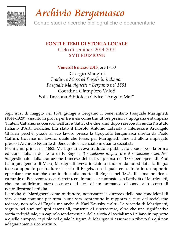 Tradurre Marx ed Engels in italiano Pasquale Martignetti