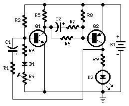 Flashing-LED Battery-status Indicator