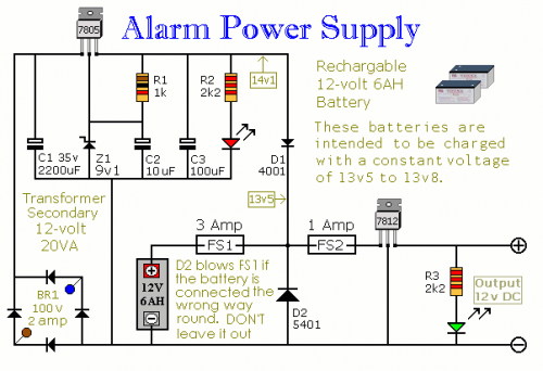 2n 12v Wiring Diagram How To Build An Alarm Power Supply With Battery Back Up