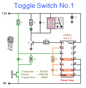 How to build Electronic Toggle Switch No1  circuit diagram