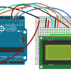 also you might need to solder a 16 pin header to your lcd before connecting it to a breadboard follow the diagram below to wire the lcd to your arduino  [ 1280 x 623 Pixel ]