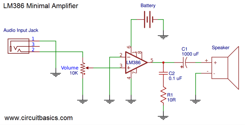 Build a Great Sounding Audio Amplifier (with Bass Boost) from the LM386 - Minimal Amplifier Schematic