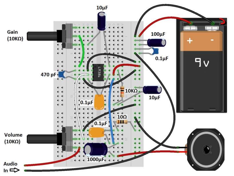 LM386 Audio Amplifier Great Sounding Amp Diagram