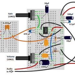 Convert Circuit Diagram To Breadboard Nissan Navara D40 Speaker Wiring Build A Great Sounding Audio Amplifier With Bass Boost From The Lm386 An Easy Way Connect Input In These Circuits Is By Cutting 3 5 Mm Jack Old Set Of Headphones And It Pins
