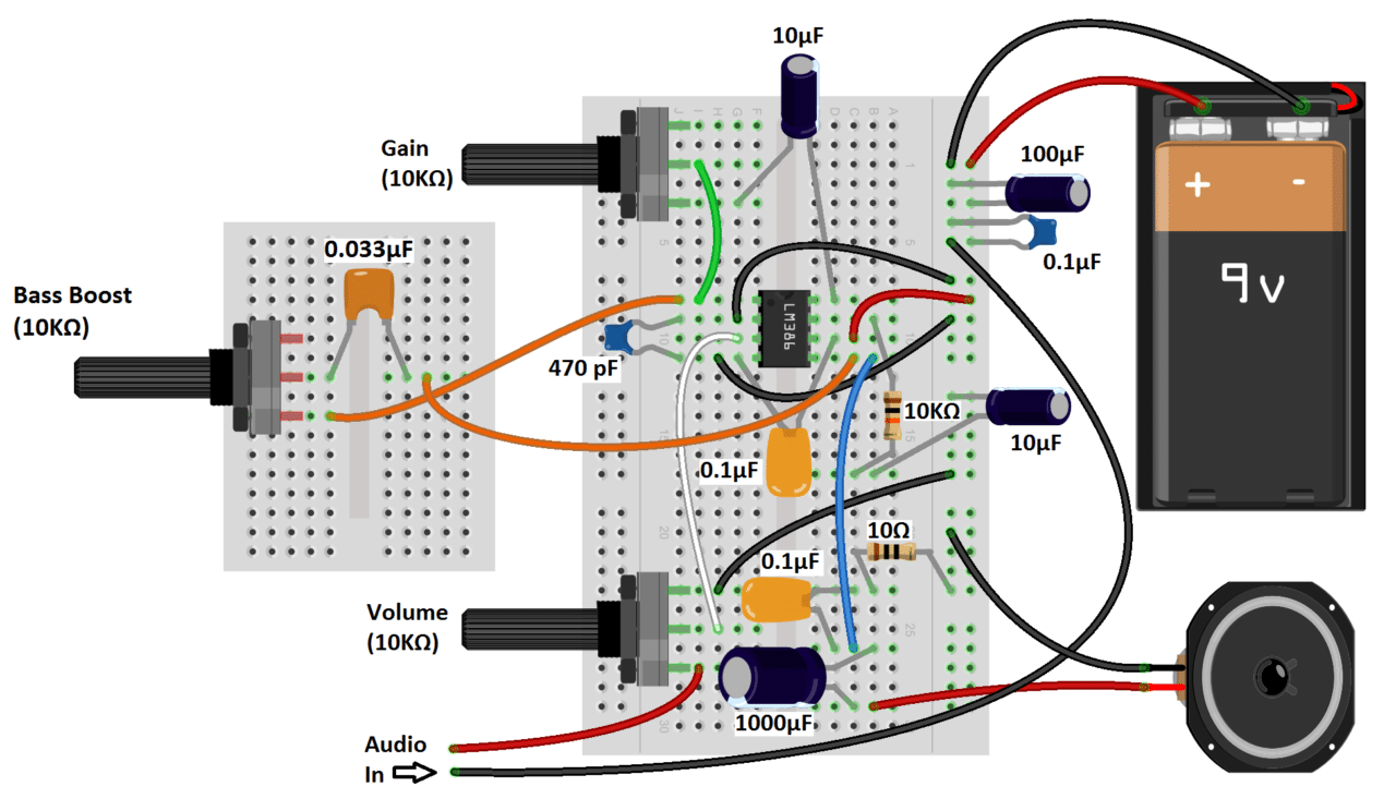 hight resolution of an easy way to connect the audio input in these circuits is by cutting the 3 5 mm audio jack from an old set of headphones and wiring it to breadboard pins