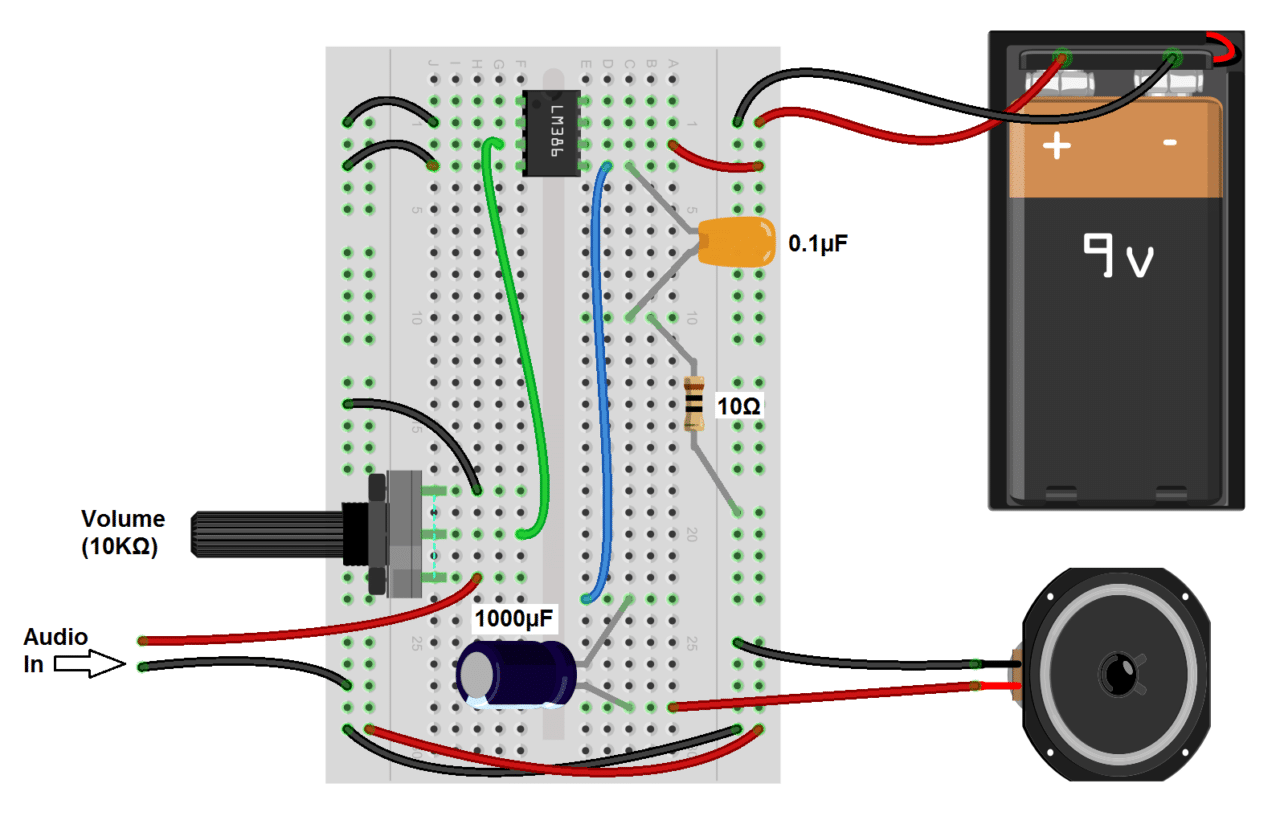hight resolution of build a great sounding audio amplifier with bass boost from the lm386 channel amplifier and speaker setup circuit schematic electronics
