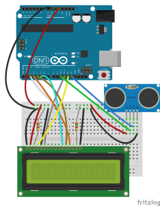 Arduino Ultrasonic Range Finder and LCD Diagram