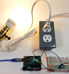 build an arduino controlled power outlet dht11 humidity and temperature sensor controlling a light bulb [ 1024 x 768 Pixel ]