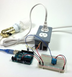 build an arduino controlled power outlet dht11 humidity and temperature sensor controlling a light bulb [ 1024 x 796 Pixel ]