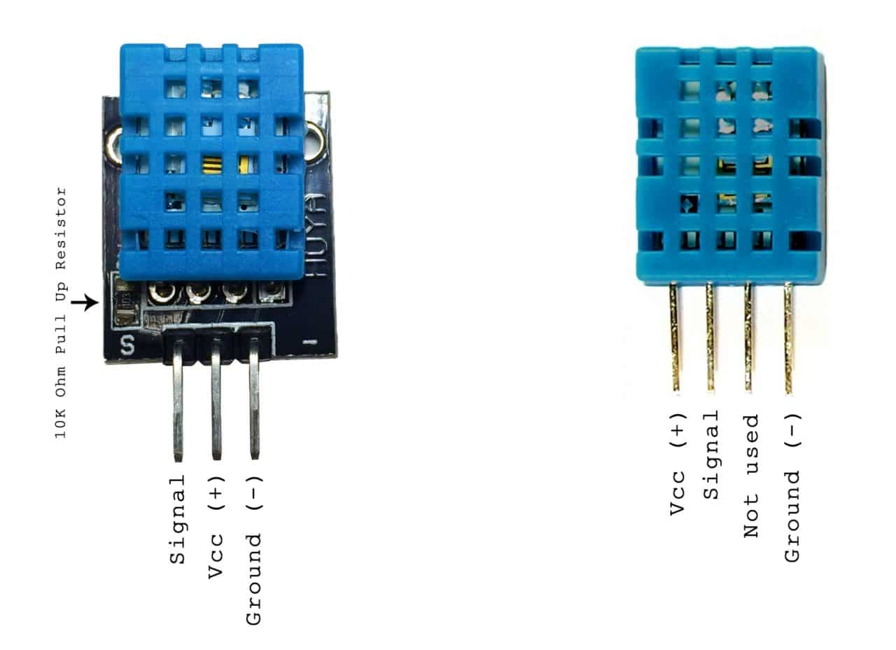 hight resolution of one is a three pin pcb mounted module and the other is a four pin stand alone module the pinout is different for each one so connect the dht11 according