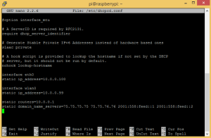 Static IP Address for Raspberry Pi - dhcpcd File Contents