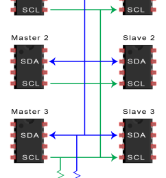 to connect multiple masters to multiple slaves use the following diagram with 4 7k ohm pull up resistors connecting the sda and scl lines to vcc  [ 982 x 1610 Pixel ]