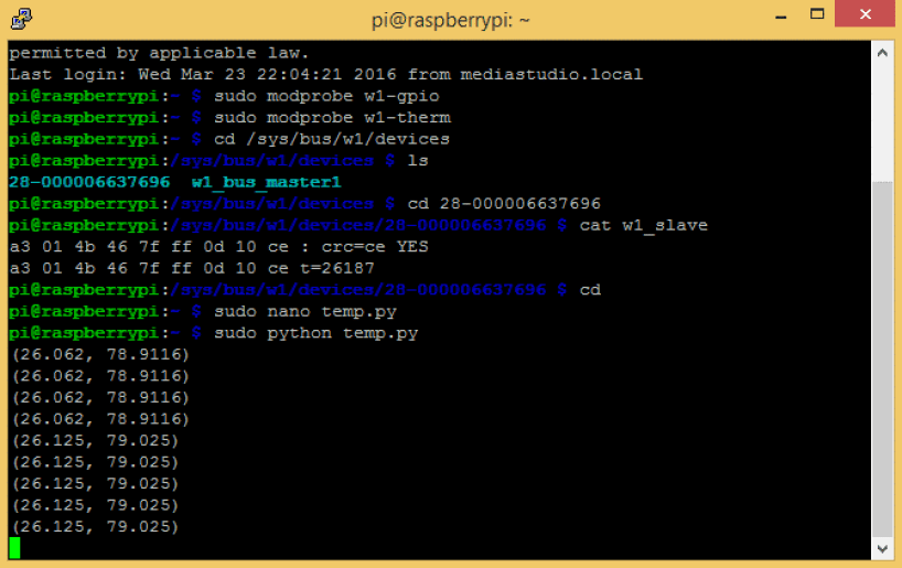 Raspberry Pi DS18B20 Temperature Sensor Tutorial - Temperature Output to SSH Terminal