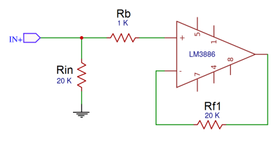 How to Design a Hi-Fi Audio Amplifier With an LM3886 - Balancing the Input Bias Current With Rin, Rb, and Rf1