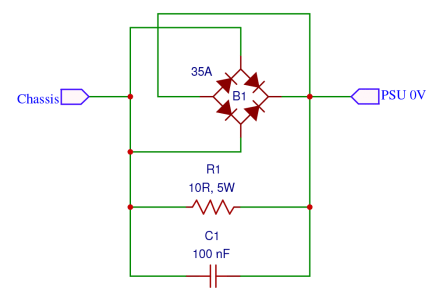 How to Design a Hi-Fi Audio Amplifier With an LM3886 - Ground Protection Circuit Schematic