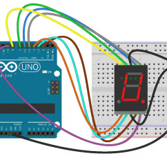 Arduino Lcd Screen Wiring Diagram Bargman Trailer How To Set Up 7 Segment Displays On The Circuit Basics This Shows Connect A Single Digit 5161as Display Notice 1k Ohm Current Limiting Resistor Connected In Series With Common Pins